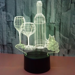 3D LED Wine Bottle Shape USB 7Color Night Home Light Lamp Gift