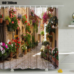 3D Pattern Flower Town Waterproof Thickened Shower Curtain
