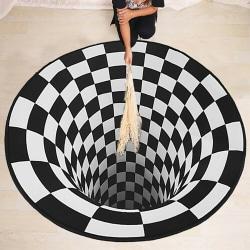 3D Printed Round Vortex Illusion Living Room Rug Floor Door Mat 80*80cm