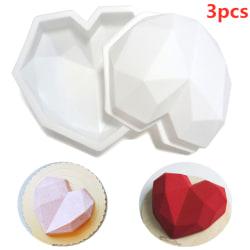 3st bakverktyg silikon hjärta form mögel diamant kaka dekor 3PCS