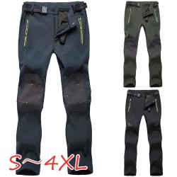 Men's Climbing Fishing Pants Outdoor Casual Windproof Winter black 3XL