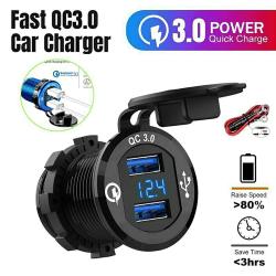 5-12V Car Charger Socket QC3 Dual USB Port Phone Fast Charging