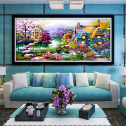 5D Half Diamond Painting Garden Cottage Stitch  Art Decor DIY