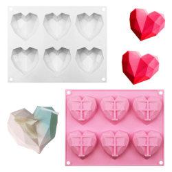 6-Cavity 3D Silicone Heart Fondant Mould Cake Chocolate Baking White-1pcs