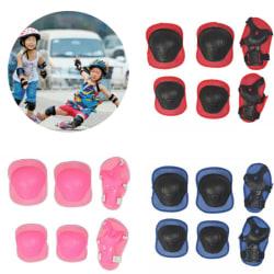 6st Barnhandled Knäskydd Skyddsutrustning Hjälm Skate Bike Set Blue