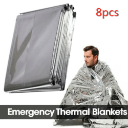8pcs Blanket Survival Safety Insulating  Outdoor Camping Travel silver 8pcs