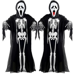 Adults Skeleton Costume Kids Haunted House Halloween Party Dress Adult