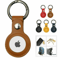 AirTag läderfodral / lock AirTag ärmskal Skin Nyckelring Black