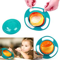 Universal Baby Bowl 360 Degree Rotating Gyro Spill-Proof Bowl blue