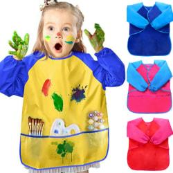 Boys Girls Kid Long Sleeve Waterproof Art Apron Bib Smock Outfit yellow&blue