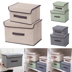 Foldable Wardrobe Storage Box Lid Drawer Toys Clothes Organiser light green S