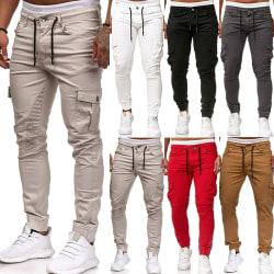 Fashion Men Casual Summer Stretchy Sweatpants Elastic grey XL