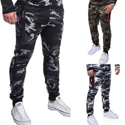 Fashion Men's Camouflage Jogger Pants Slim light grey L