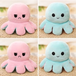 Flip Reversible Octopus Plush Toys Children Birthday Gifts Cute Pink-Light Blue