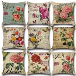 Blommigt hem fyrkantigt kuddfodral soffa midja kuddfodral dekor E