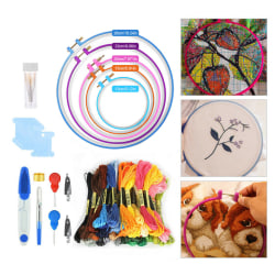 Full Range of Embroidery Starter Kit Cross Stitch Tool 50 Embroidery circle+50 Line