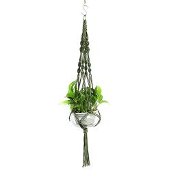 Trädgård Plant Hanging Planter Basket Rope Pot Holder Decor Dark Green