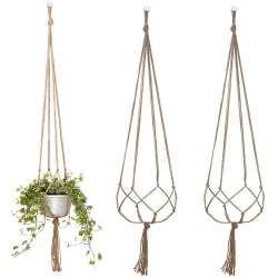 Trädgård Plant Macrame Hanging Basket Flower Pot Holder Decor 122cm