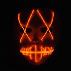 Halloween Scary Mask Smiling Stitched EL WireLight Up Props Orange
