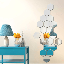 Hexagonal Mirror Wall Sticker Home Mosaic Decor Silver 100*85*50mm