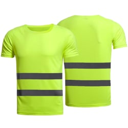 Hi Vis Visibility High Men Vest Belt Workwear T-Shirt Green L