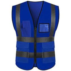 Hi Viz Safety High Visibility Pocket Jacket Work Vest Blue L
