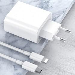 iPhone 12 Pro Max XS XR 18W USB Type-C vägg snabb laddare PD