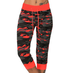 Ladies Sports Camouflage Cropped Pants Red XL
