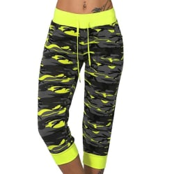 Ladies Sports Camouflage Cropped Pants Yellow S