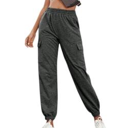 Ladies Sports High Waist Casual Yoga Pants Trousers Dark Grey L