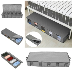 Large Capacity Under Bed Storage Box 5 Compartments Clothes Bags grey