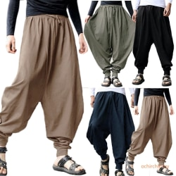 Men Loose Long Plain Pure Yoga Wide Leg Pants Khaki L