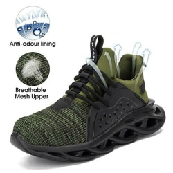 Men Safety Shoes Breathable Work Sneakers Black 44