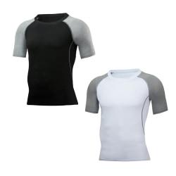 Män kortärmad Slim Sports Fitness T-shirt träningslager toppar Black XL
