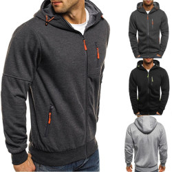 Men Winter Long Sleeve Zipper Patchwork Hooded black XL