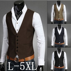 Mens Button Up Sleeveless Waistcoats Slim Fit brown 3XL