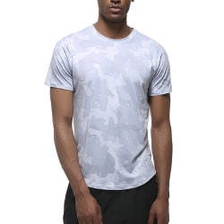 Mens Short Sleeve T-Shirt Slim Fit Kläder Runing Sport Gym Tops White L