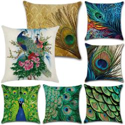 Påfågel fjäder djur mönster kasta dekorativ kudde