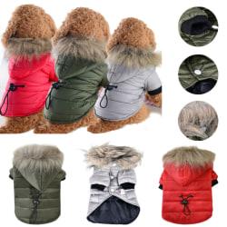 Pet Dog Puppy vadderad huva jacka väst vinter varmare kläder grey XS