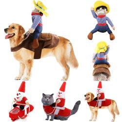 Sällskapsdjur Utsmyckade Kläder Hund Cat Jul Jultomten Kostym cowboy XL