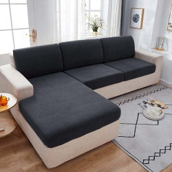 Plain Sofa Seat Cover Couch Slipcover Cushion Elastic Protector Dark Grey Three people