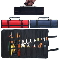 22 Pockets Spanner Wrench Tools Storage Bag Portable Canvas Red