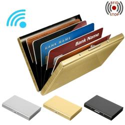 Pop-up Korthållare RFID Blocking Protector Plånbok Credit Case Silver