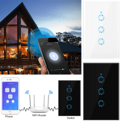 Smart Touch Light Switch WiFi 3 Gang Remote Control Home White