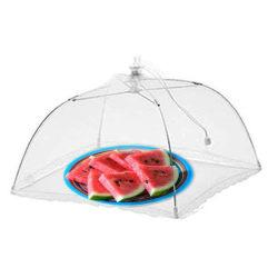 17�� Skyddande tårtskydd som viks paraplyöverdrag i vitt nät
