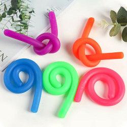 6PCS Stretchy Noodle String Neon  Fidget Stress Relief Toy 6pcs(1pc each color)