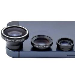 Universal 3-i-1 Clip-on vidvinkel mobiltelefonlins Kamera Kit Gold