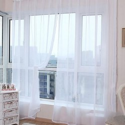 Voile Curtain Plain Net Top Window Home Decor String Curtains white 2PCS