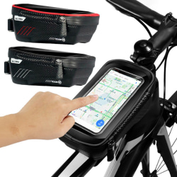 Waterproof Bicycle Front Frame Bag Cycling Bike Tube Phone Holde red