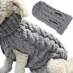 Winter Knited Pet Dog Fahsion Coat Outwear Grey M